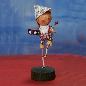 Lori Mitchell Figurine - Little Patriotic Boy Figurine - Wooden Duck Shoppe