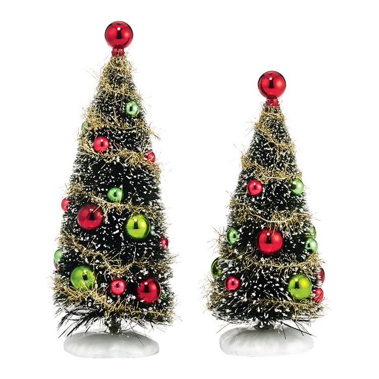 Department 56 Christmas Tree.Glitzy Holiday Trees Set Of 2