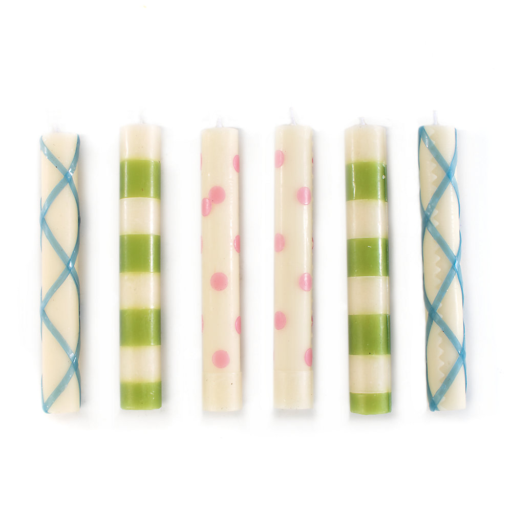Set of 6 MacKenzie-Childs Mini Dinner Candles Holiday