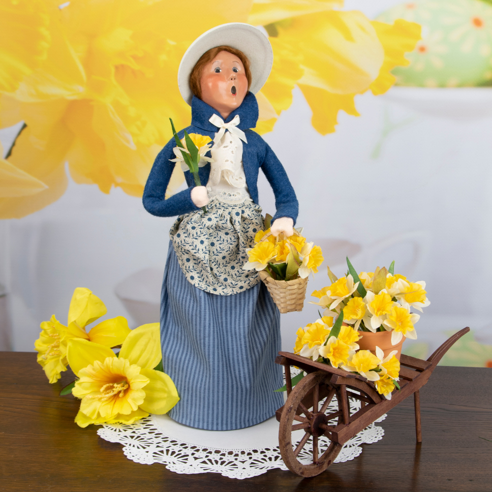 Byers' Choice Woman with Daffodils
